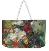 Fruit And Flowers In A Terracotta Vase Weekender Tote Bag