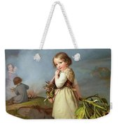 Girl On Her Way To Cooking Potatoes In The Fire Weekender Tote Bag