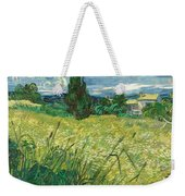 Green Wheat Field With Cypress Weekender Tote Bag