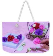 How To Make Preservrd Flower And Clay Flower Arrangement, Colorf Weekender Tote Bag