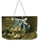 Kitten Peeking In On Chicks Weekender Tote Bag