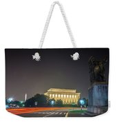 Lincoln Memorial Monument With Car Trails At Night Weekender Tote Bag