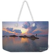 Lone Fisherman At Low Tide  Weekender Tote Bag