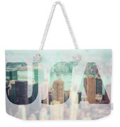 Manhattan Skyline At Sunset, New York City  Weekender Tote Bag