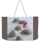 Meditation Stones Pink Flowers On White Sand Weekender Tote Bag