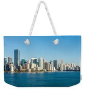Miami Florida City Skyline Morning With Blue Sky Weekender Tote Bag