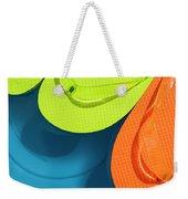 Multicolored Flip Flops Floating In Pool Weekender Tote Bag