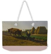 Cattle At Rest On A Hillside In The Alps Weekender Tote Bag