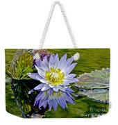 Purple Water Lily Pond Flower Wall Decor Weekender Tote Bag