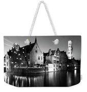 River Dijver And The Belfort At Night, Rozenhoedkaai, Bruges Weekender Tote Bag