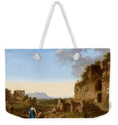 Roman Landscape With Ruins And Travellers Weekender Tote Bag