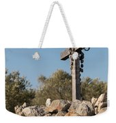 Rosary Hanging On A Small Wooden Cross On A Stone Wall Weekender Tote Bag