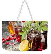 Rosehip Tea With Honey And Lemon In Glass Weekender Tote Bag