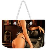 Sexy Young Woman In Black Lingerie Weekender Tote Bag