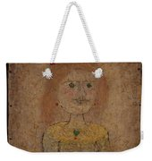 Small Portrait Of A Girl In Yellow Weekender Tote Bag