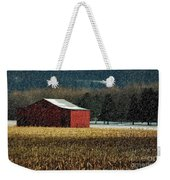 Snowy Red Barn In Winter Weekender Tote Bag