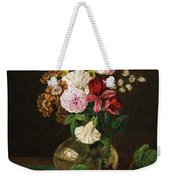 Still Life With Flowers In A Glass Vase And Cherry Twig Weekender Tote Bag