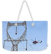 Stringing Power Cable By Helicopter Weekender Tote Bag