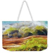 Structure Of Wooden Log Covered With Moss On The Riverside, Closeup Painting Detail. Weekender Tote Bag