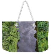Summer Landscape. Green Trees At Riverbank In Poland. Weekender Tote Bag
