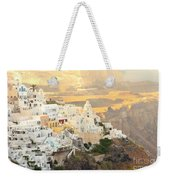 The Golden Hour In Fira Weekender Tote Bag