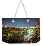 The Monroe Street Dam And Bridge At Night, In Spokane, Washingto Weekender Tote Bag