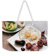 Traditional English British Fried Breakfast With Eggs Bacon And  Weekender Tote Bag