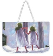 Two Sisters Jumping On The Bed  Weekender Tote Bag