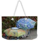 2 Umbrellas On Motorcycle  Weekender Tote Bag