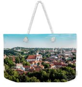view of downtown in Vilnius city, Lithuanian Weekender Tote Bag