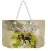 Watercolor Painting Of Beauitful Landscape Image Of Newborn Spri Weekender Tote Bag