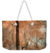 Watercolour Painting Of Beautiful Image Of Red Deer Stag In Fogg Weekender Tote Bag