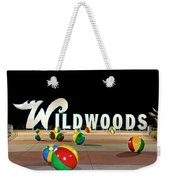 Wildwood's Sign At Night On The Boardwalk  Weekender Tote Bag