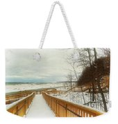 Winter Ice On Lake Michigan Weekender Tote Bag