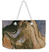 Woman Combing Her Hair Weekender Tote Bag