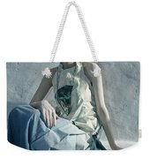 Woman In Ash And Blue Body Paint Weekender Tote Bag