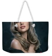 Woman In Big Curls Hollywood Glam Look Weekender Tote Bag