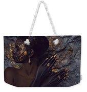 Woman In Splattered Golden Facial Paint Weekender Tote Bag