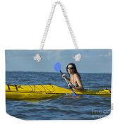 Woman Kayaking Weekender Tote Bag