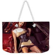 Young Woman In A Crashed Car Weekender Tote Bag
