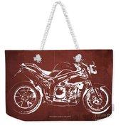 2011 Speed Triple Triumph Motorcycle Blueprint Red Background Artwork Christmas Gift For Men Weekender Tote Bag