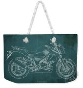2018 Honda Cb300f Abs Blueprint Green Background Weekender Tote Bag