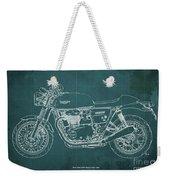 2018 Triumph Thruxton 1200 Blueprint Green Background Weekender Tote Bag