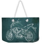 2018 Yamaha Mt07 Blueprint Green Background Fathers Day Gift Weekender Tote Bag