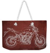 2018 Yamaha Mt07 Blueprint  Red Background Fathers Day Gift Weekender Tote Bag