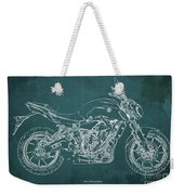 2018 Yamaha Mt07,blueprint,green Background,fathers Day Gift,2018 Weekender Tote Bag