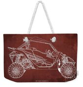 2018 Yamaha Wolverine X4 Blueprint Red Background Gift For Him Weekender Tote Bag