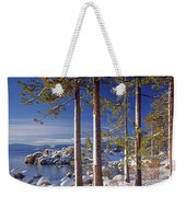 211257 Snow On Tree Sides Lake Tahoe Weekender Tote Bag