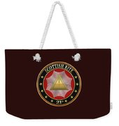 21st Degree -  Noachite Or Prussian Knight Jewel On Black Leather Weekender Tote Bag