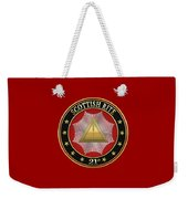 21st Degree - Noachite Or Prussian Knight Jewel On Red Leather Weekender Tote Bag